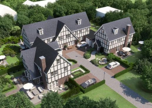 Vier luxe villa's in Engelse Tudorstijl aan Utrechtseweg in Hilversum