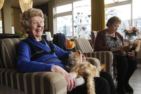 Met de robotkat op schoot is Mattie Kossen helemaal happy; binnenkijken in Het GeheugenHuis