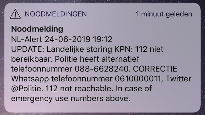 Telegraaf-tiplijn als noodnummer verstuurd via NL-Alert