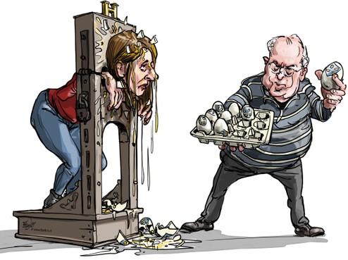 Cartoon: Lekkend Hilversums raadslid aan de schandpaal genageld