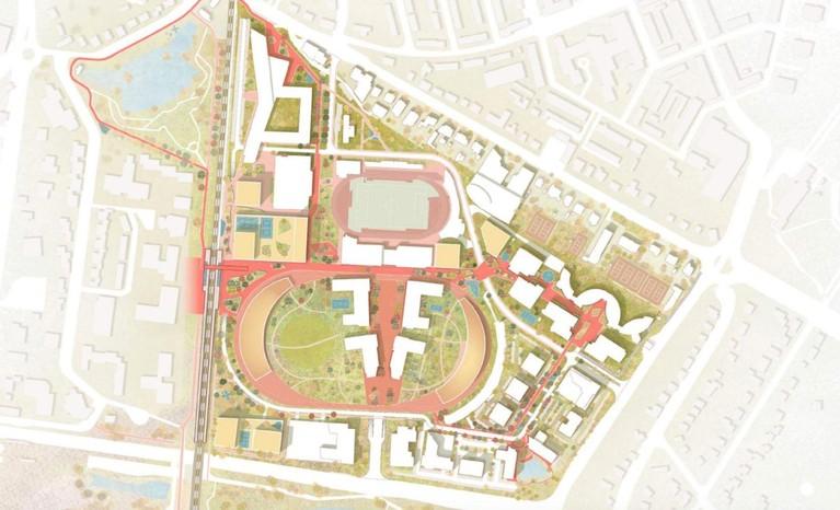 Wonen, drafbaan, fietstunnel en nieuw treinstation in Hilversums Arenapark