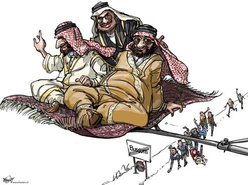 Cartoon Oliedollars lonken harder dan Bussumse euro's