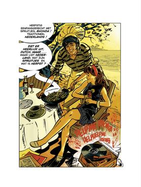 Striptekenaar Hans van Oudenaarden signeert kookboek in Hilversum