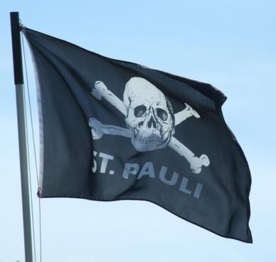Een vlag met een doodshoofd als het symbool van een linkse cultclub