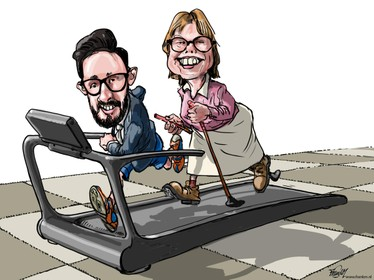 Cartoon: wethouders straks rennend de vergaderingen door